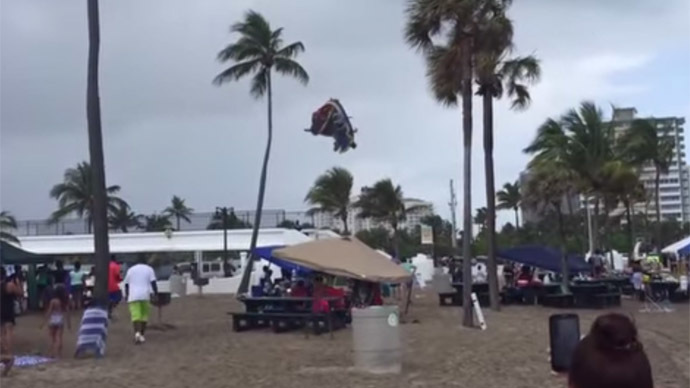 Waterspout lifts bounce house 50 ft. up into air, injuring kids inside (VIDEO)