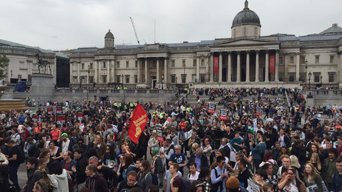 Queen's Speech: Anti-austerity protesters gather in Trafalgar Square