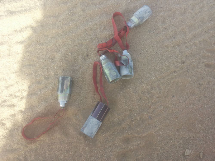 Five ZP-39 submunitions delivered by an unknown type of ground-fired cluster munition photographed in Baqim village in Yemen's northern Saada governorate, April 29, 2015. (image from www.hrw.org)