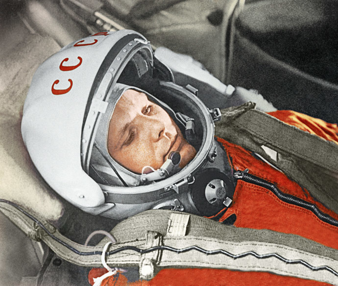 Yuri Gagarin before a space flight aboard the Vostok spacecraft. April 12, 1961. (RIA Novosti)