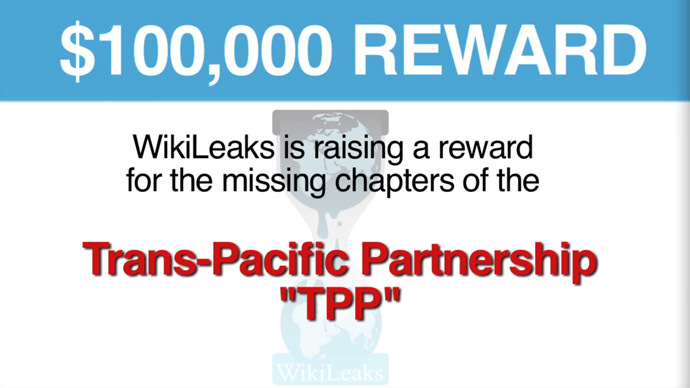 WikiLeaks aims to crowdsource $100k as reward for missing TPP chapters