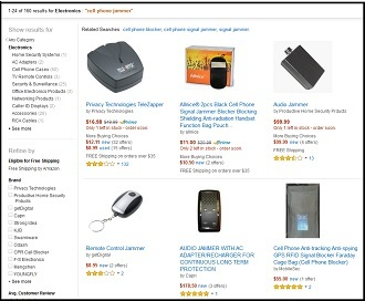 A selection of cell phone jammers sold online (Screenshot from Amazon.com)