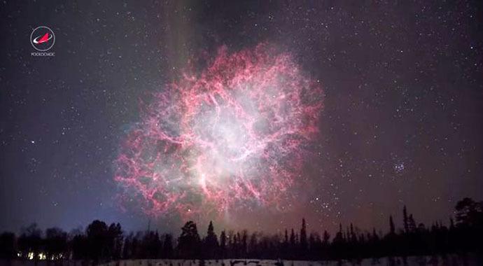 Crab Nebula (Still from youtube video/roskosmos studios)