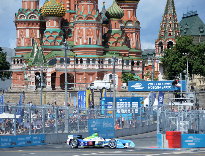 Jarno Trulli of the Trulli team during a qualifying race at the FIA Formula E Championship in Moscow. (RIA Novosti / Alexey Kudenko)