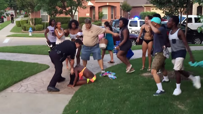 Outrage as Texas cops break up teenage pool party, violently force black girl to ground
