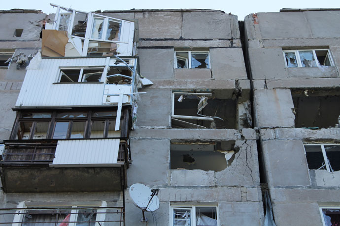 A residential building destroyed by an attack of Ukrainian forces in Donetsk. (RIA Novosti/Irina Gerashchenko)