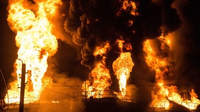 Drone footage of Ukrainian oil depot blaze shows scale of disaster (VIDEO)