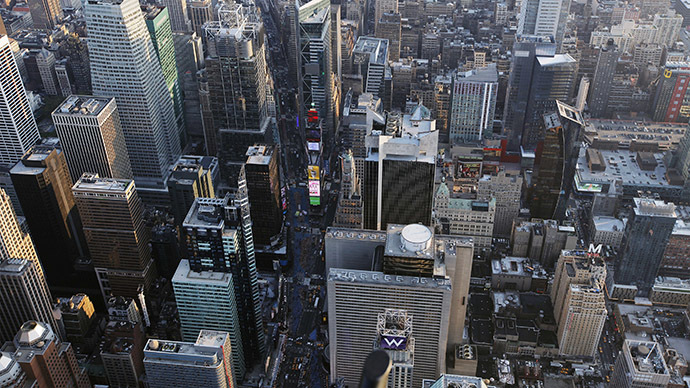 Times Square high-rise in smoke, building  evacuated