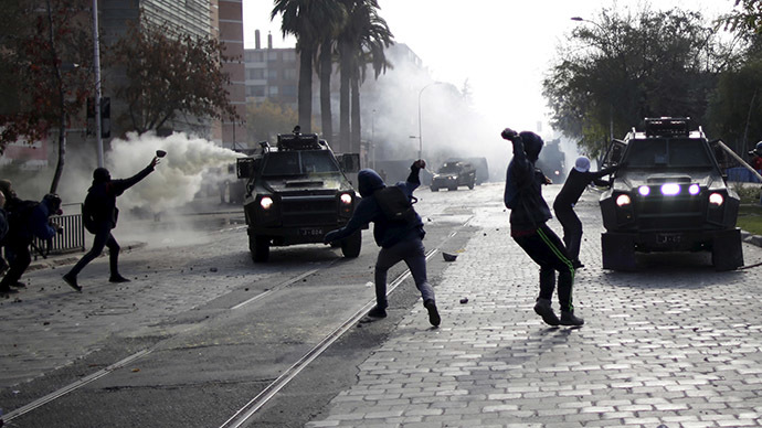 Chile police deploy tear gas, water cannons as 200,000-strong rally turns violent (PHOTOS, VIDEO)