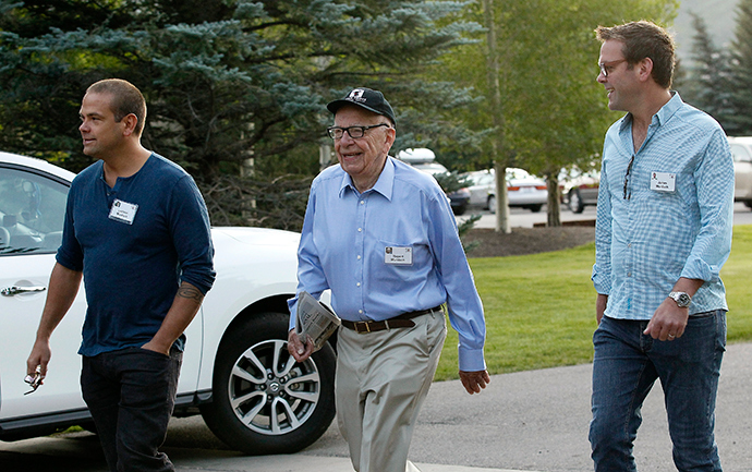 Rupert Murdoch, CEO of News Corp. and 21st Century Fox, arrives with sons Lachlan (L) and James (R) (Reuters / Rick Wilking)