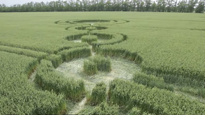 Drone sent to 'investigate' mysterious crop circles in southern Russia (VIDEO)