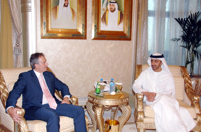 UAE Foreign Minister Sheikh Abdullah bin Zayed Al-Nahyan (R) meets former British Prime Minister Tony Blair in Abu Dhabi (Reuters / Ho-Wam)