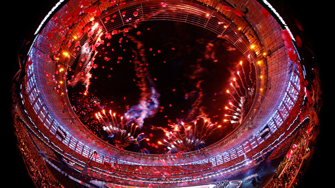 Fierworks explode during the opening ceremony of the 1st European Games in Baku, Azerbaijan, June 12 , 2015. Picture taken with a fish-eye lens. (Reuters / Kai Pfaffenbach)