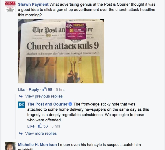 Screenshot from facebook.com/ThePostandCourier