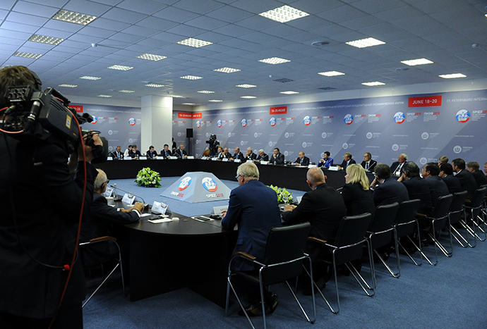 June 19, 2015. President Vladimir Putin during a working lunch with the heads of largest foreign companies and business associations (RIA Novosti / Michael Klimentyev)