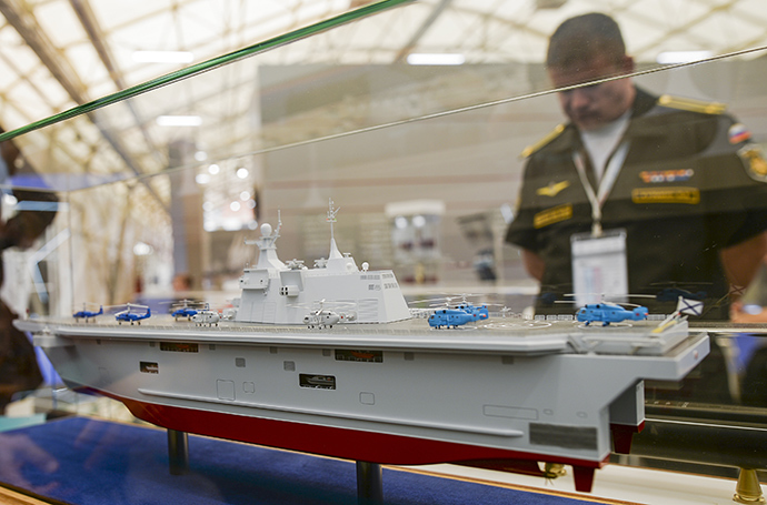 The mock-up of the Priboy-class ship, presented at the Army-2015 expo in the Moscow Region on June 16, 2015 (RIA Novosti / Alexander Vilf)
