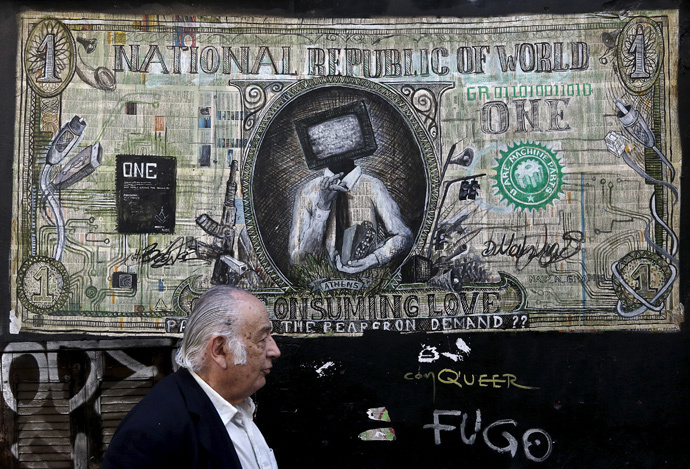 Graffiti illustrating a modified dollar banknote in Athens (Reuters / Alkis Konstantinidis)