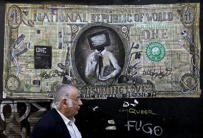 Graffiti illustrating a modified dollar banknote in Athens (Reuters / Alkis Konstantinidis)