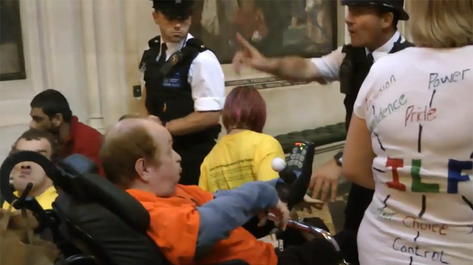 Disability protesters clash with police in attempt to storm Parliament
