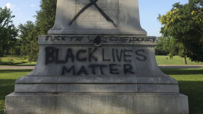 Confederate war memorials vandalized with 'Black Lives Matter' text