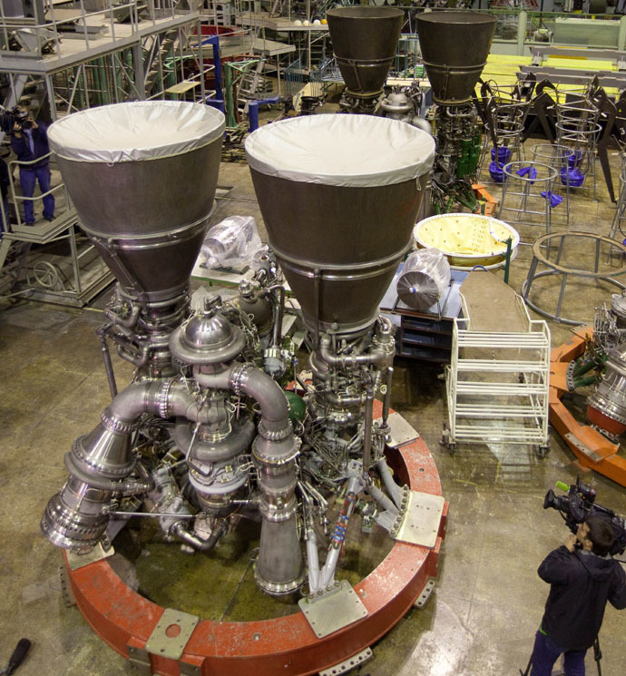 Russian RD-180 rocket engines manufactured at Energomash at the request of the U.S., being prepared for transport to Sheremetyevo Airport. (RIA Novosti/Iliya Pitalev)
