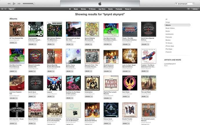 Lynyrd Skynyrd albums available on Apple iTunes (screenshot)