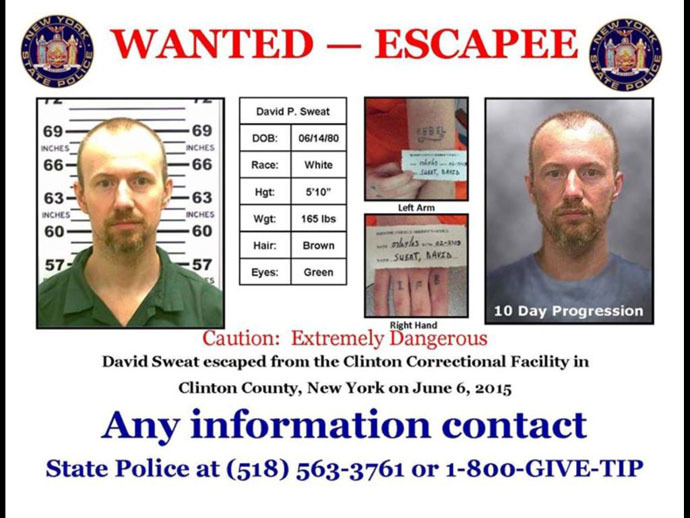 A wanted poster for escaped convict David Sweat is seen in an undated handout released by the New York State Police. (Reuters)