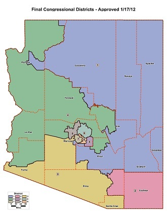 Current Arizona congressional districts, as approved by the Arizona Independent Redistricting Commission (http://azredistricting.org/)