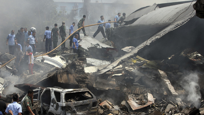 Aftermath of deadly Hercules C-130 crash in Medan, Indonesia (VIDEO)