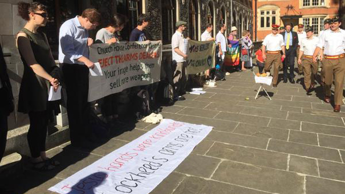 ​'Stop profiting from war,' Christian protesters tell Church of England