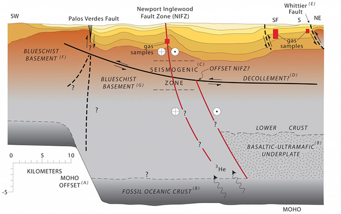 A geologic cross section of the Los Angeles Basin from the southwest to northeast. This profile intersects the Newport-Inglewood Fault Zone at Long Beach. (Photo credit: ucsb.edu / Sonia Fernandez)