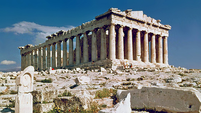 Russia Today photograph of the ruins of the Parthenon in ancient Athens, Greece
