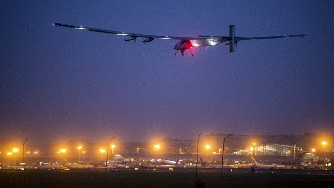 ​Solar-powered plane sets solo flight world record