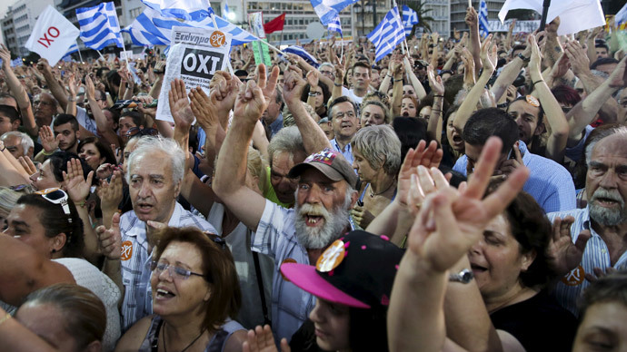 Demonstrators shout slogans during an anti-austerity rally in Syntagma Square in Athens, Greece July 3, 2015.(Reuters / Alkis Konstantinidis)