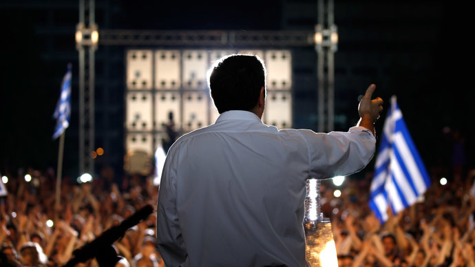 Greek Prime Minister Alexis Tsipras delivers a speech at an anti-austerity rally in Syntagma Square in Athens, Greece, July 3, 2015.(Reuters / Yannis Behrakis )