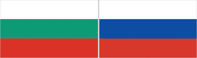 Bulgarian (L) and Russian flags