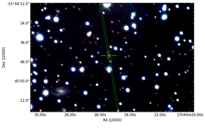 The radio galaxy PKS B1740-517. (image from www.csiro.au)