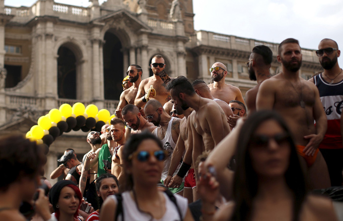 Participants take part in a Gay Pride parade in Rome, Italy June 13, 2015. (Reuters / Alessandro Bianchi)