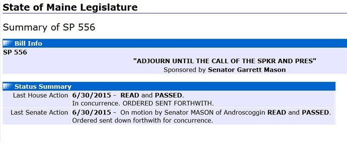 Joint Order SP 556 is at the heart of the debate over Gov. Paul LePage's (R-Maine) pocket-veto attempt (Maine Legislature)