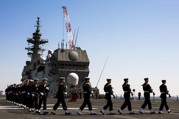 The Izumo warship at the Japan United Marine shipyard in Yokohama, south of Tokyo (Reuters/Thomas Peter)