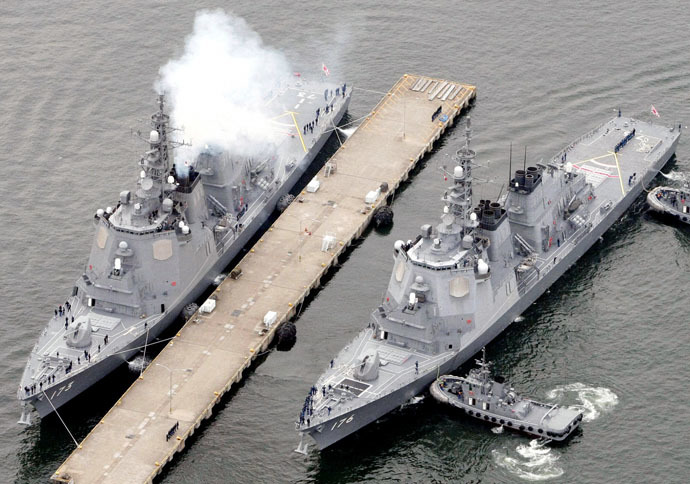 Japan Maritime Self-Defense Force's (JMSDF) ballistic missile defense ships Chokai (R) and Kongou (Reuters/Kyodo)