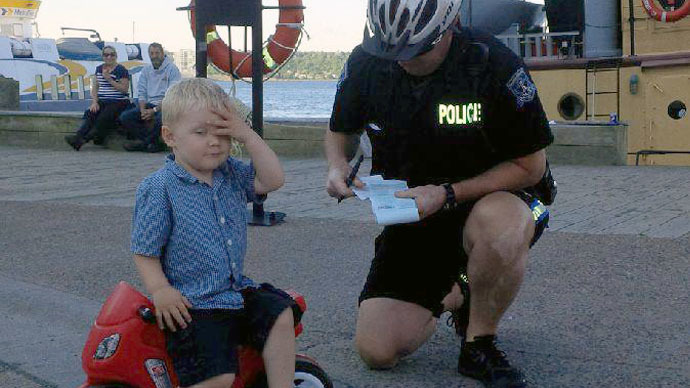 Canadian police give (blank) ticket to 3yo 'ruthless biker' for bad, bad parking (PHOTO)