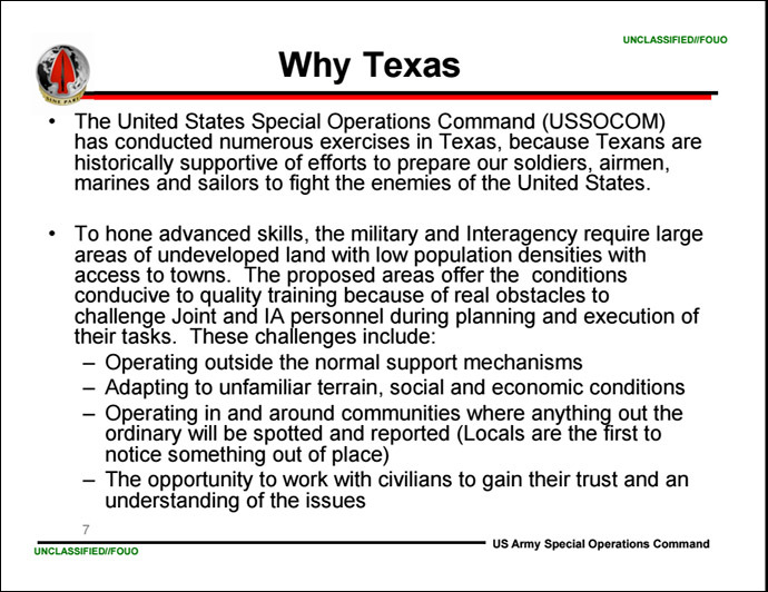 Excerpt from a USASOC presentation on Jade Helm 15