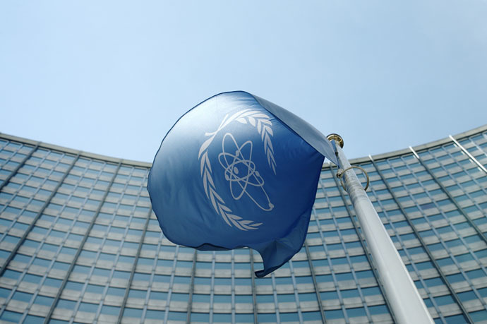 The flag of the International Atomic Energy Agency (IAEA) flies in front of its headquarters in Vienna, Austria (Reuters/Heinz-Peter Bader)