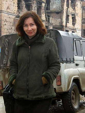 Human rights activist Natalya Estemirova in the Chechen capital city of Grozny in 2004. Photo courtesy of the Memorial Human Rights Center (RIA Novosti)