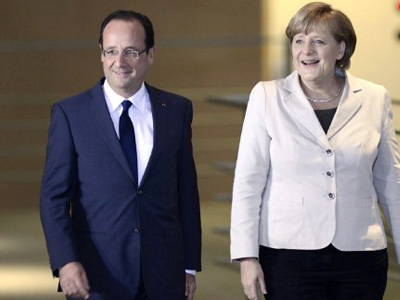 Merkel and Hollande meet to fine-tune joint line on Greece