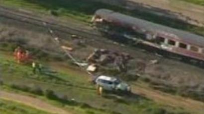 Train crashes into truck