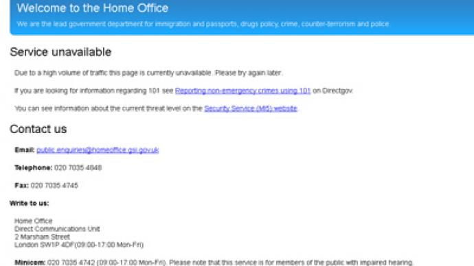 Anonymous takes down UK Home Office website