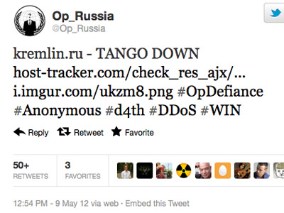 Anonymous shuts down Kremlin's websites