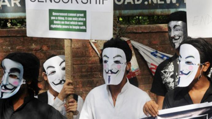 Internet without borders: Anonymous protests Indian web censorship (PHOTOS)
